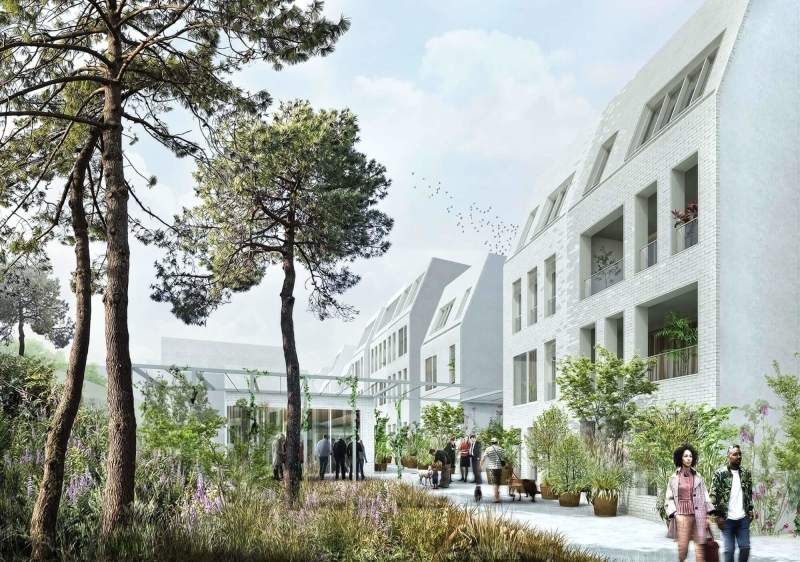 Juste une question de feeling : Immeuble clair et moderne entouré d'arbres et de végétation.