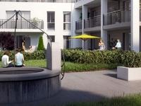 Le Patio : Immeuble moderne donnant sur une petite place avec espace vert