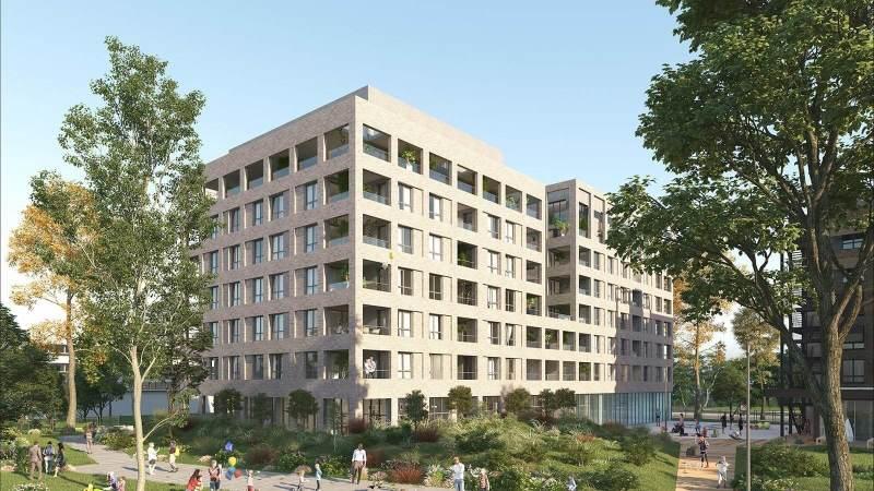 Square Saint-Louis : Immeuble contemporain couvert de briques blondes