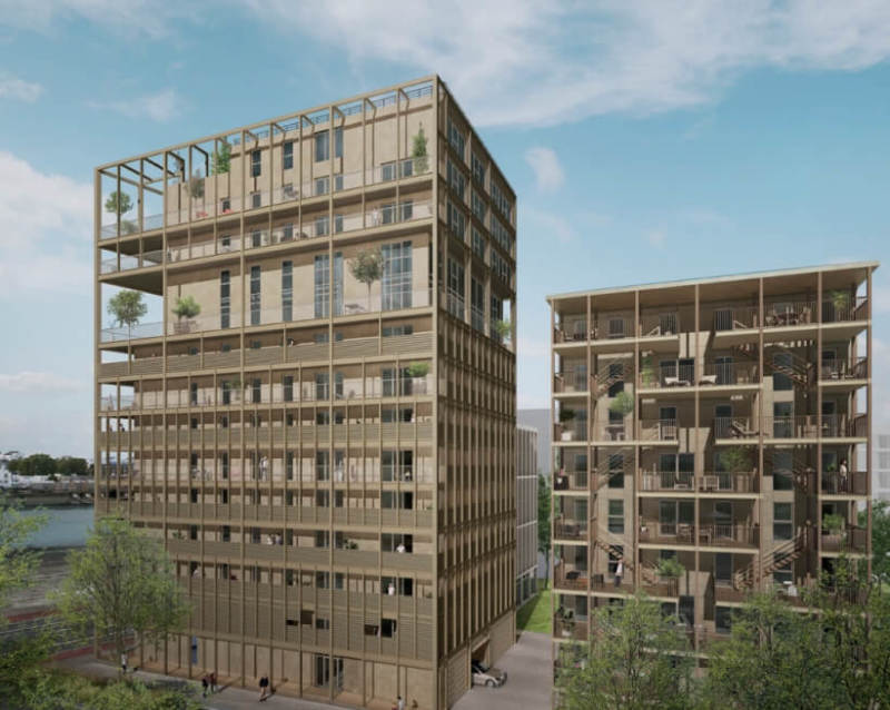 Autre rive : Deux grands immeubles aux codes architecturaux contemporains