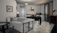 Villa Clématite : Séjour moderne avec carrelage et cuisine ouverte