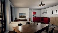 Villa Clématite : Salle à manger et séjour avec cuisine ouverte et aménagée