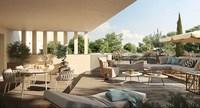 Carré Capucins : Terrasse avec lames de bois et donnant sur des espaces verdoyant