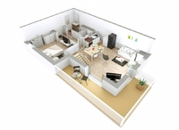 Avenue : Plan 3D d'un appartement T3