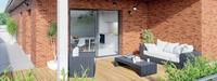 Terrasse avec briques de couleur rouge
