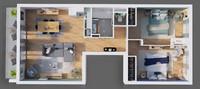 Balcons Caffarelli : Plan 3D d'un appartement 3 pièces