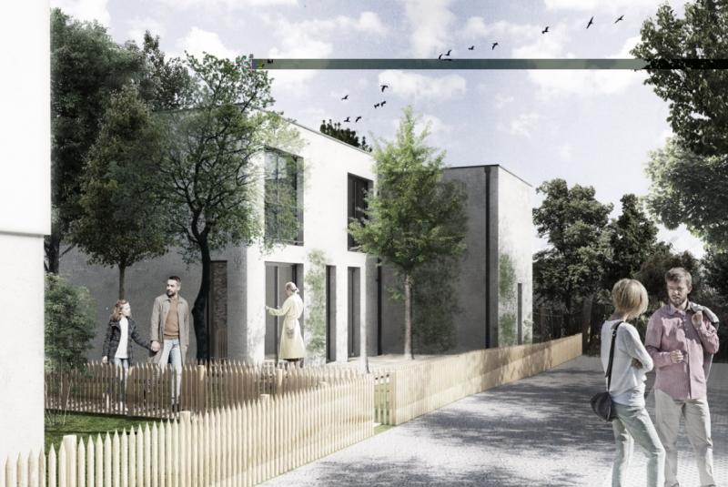 Jardins de l'Ombrière : Bâtiment contemporain entouré de végétation