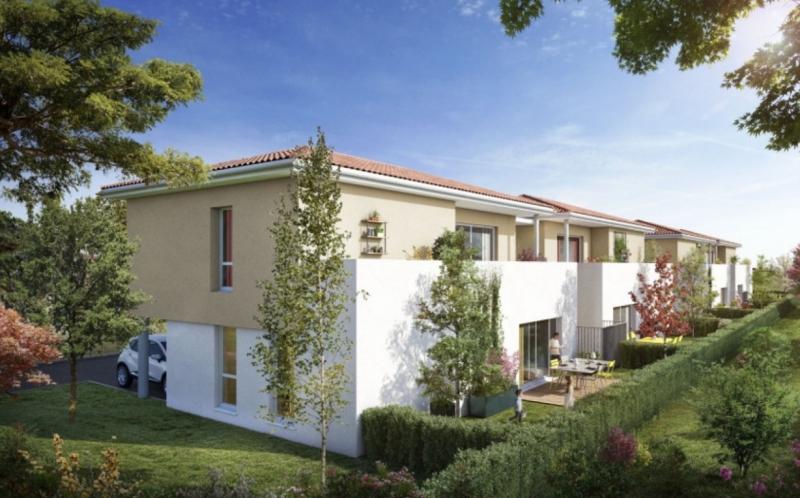 Clos des Nonettes : Villas neuves construites en duplex avec façades blanches et roses.