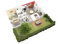 Clos des Nonettes : Plan 3D d'une villa T3
