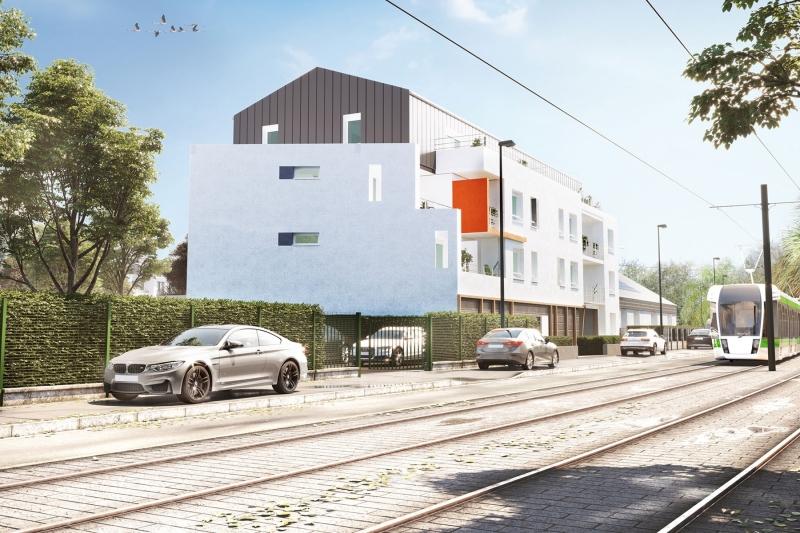 Equation : Immeuble contemporain longé par une ligne de tramway