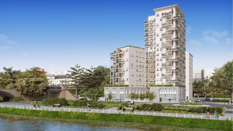 Rive de Loire : Immeuble contemporain de 16 étages