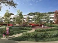 Respiration : Allée piétonne entourée d'espace vert et de mobilier urbain